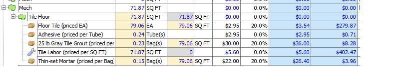 Screen Capture of Calculations