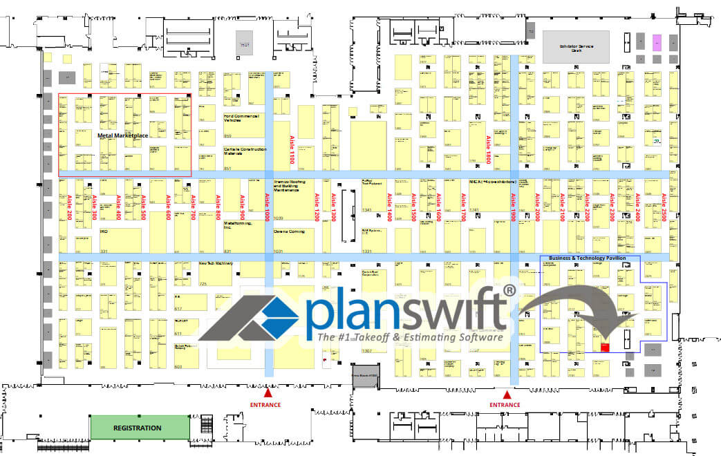 Map to PlanSwift's booth at IRE