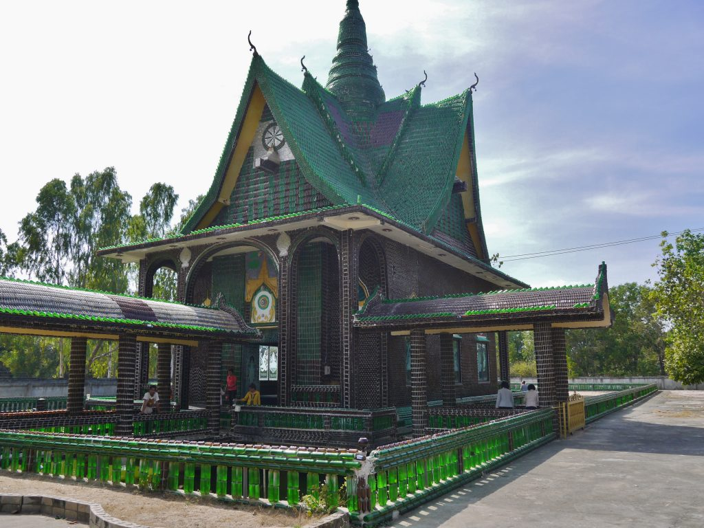 Temple in Thailand made of beer bottles